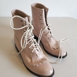 Pink Justin lace up kiltie boots leather